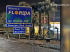 Snow blankets 'Welcome to Florida' sign