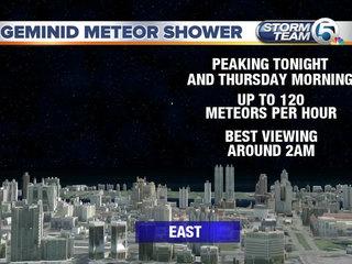 Geminid meteor shower peaks Wednesday, Thursday