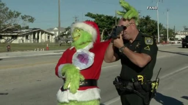 Grinch patrols traffic in Florida Keys