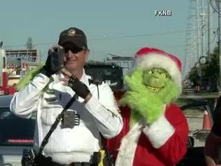 Grinch patrols traffic in Florida Keys