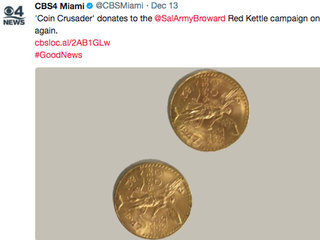 Gold coins found in Salvation Army kettle