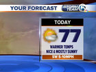 Lots of sunshine, highs in the mid to upper 70s