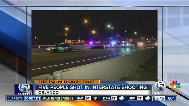 Five people shot after shootout between two vehicles