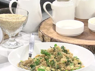 Quinoa 'fried rice' with local broccoli & greens