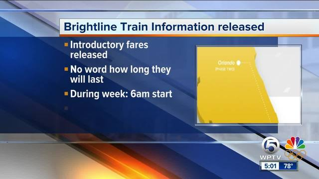 Brightline on Thursday morning released train schedules and prices for service from West Palm Beach to Fort Lauderdale