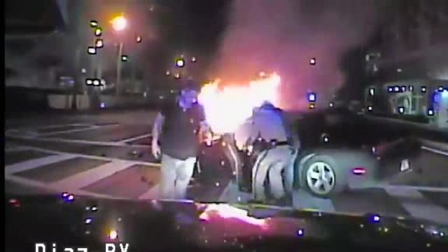 FHP troopers save woman from burning car after crash in North Miami