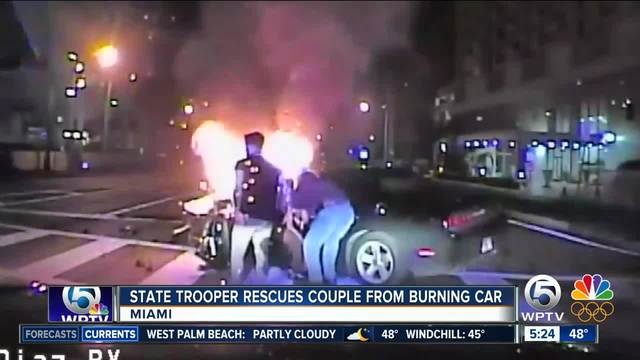 Off-duty FHP trooper rescues couple from burning car in North Miami
