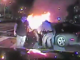 FHP troopers rescue woman from burning car