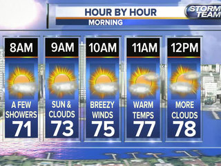 Some patchy fog, a few morning coastal showers