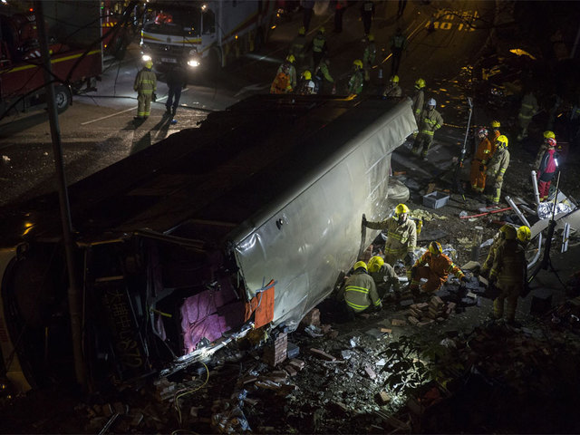 19 killed and dozens injured as bus topples over in Hong Kong