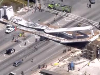 Video of workers on FIU bridge before collapse
