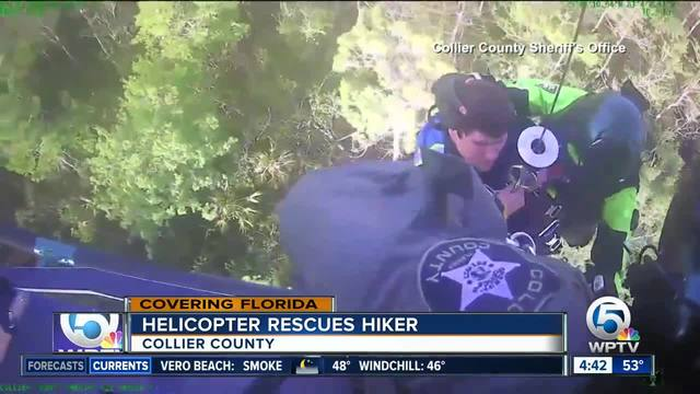 Helicopter rescues hiker in the Everglades