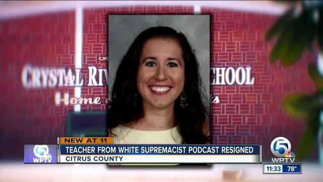 Teacher who ran white supremacist podcast she said was satire submits resignation