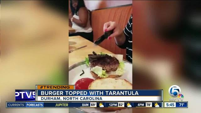 Tarantula burger on menu at NC restaurant