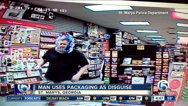 Robber wears plastic bag as disguise