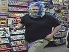 Burglar wears clear water bottle package as mask