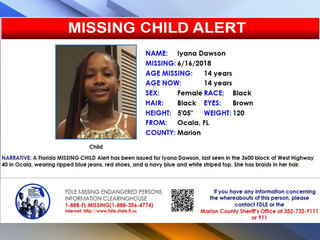 Missing child alert issued for Ocala teen