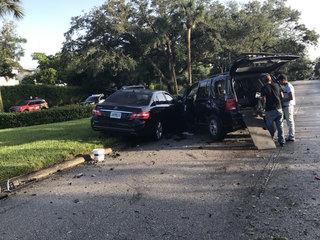 I-95 driver loses control, crashes through fence