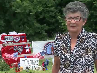 Woman in trouble for patriotic display