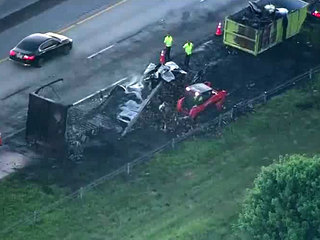 Semi hauling produce catches fire on Turnpike