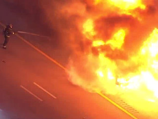 Truck engulfed by fire on I-95 SB in Delray