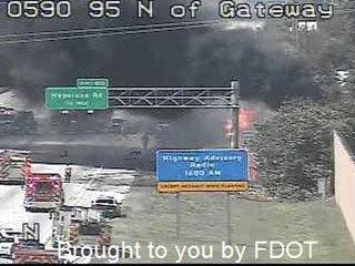 Tanker truck fire closes I-95 NB at Hypoluxo Rd.