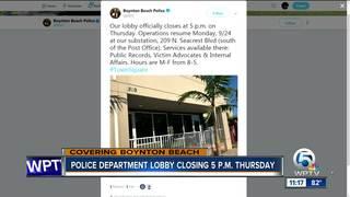 Boynton Beach police lobby closing Thursday