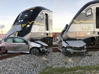Brightline train smashes into vehicle