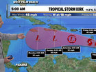 Kirk again a tropical storm with 45 mph winds