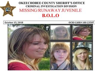 Missing/runaway teen missing from Okeechobee Co.