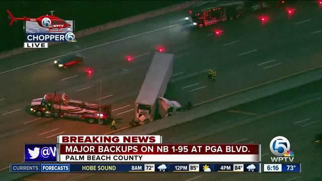 Semi crash on i 95 northbound near pga boulevard exit in - Weather palm beach gardens florida ...
