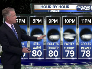 Fair & mild evening with a stray shower possible