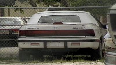 Detectives believe this white, Chrysler LeBaron was the same getaway car used by the 'killer clown'. Detectives say it was stolen by Michael Warren, but he denied those allegations.