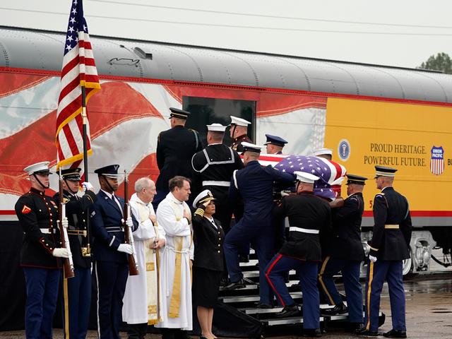 LIVE: Bush funeral train arrival ceremony
