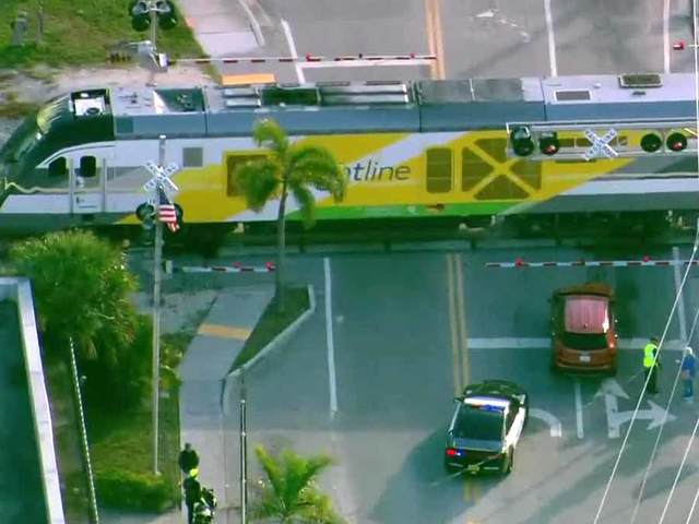 Car hit by Brightline train in Lantana